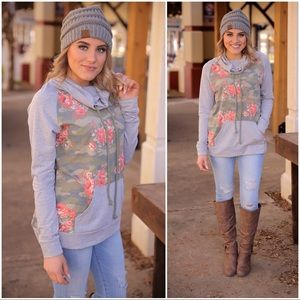 Gray pullover with camo-floral print